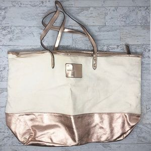 Victoria's Secret Rose Gold Canvas Large Tote Bag